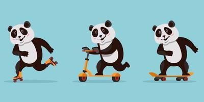 panda drôle de bande dessinée. animal à cheval sur planche à roulettes, patins à roulettes et scooter. vecteur