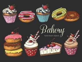 ensemble de boulangerie sucrée sur fond noir. beignets, gâteaux et cupcakes glacés dessinés à la main. désert pour le menu, la publicité et les bannières. croquis, lettrage. vecteur