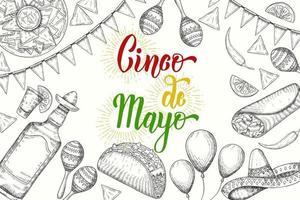 cinco de mayo fond festif avec symboles dessinés à la main - piment, maracas, sombrero, nachos, tacos, burritos, tequila, ballons isolés sur blanc. lettrage fait à la main. vecteur