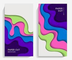 bannières verticales avec des formes découpées en papier vecteur