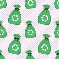 illustration de modèle sans couture de sac poubelle vert vecteur