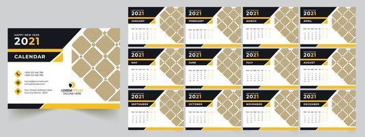 conception de modèle de calendrier de bureau 2021 vecteur