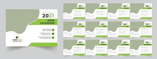 calendrier de bureau 2021 vecteur