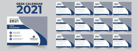 ensemble de modèles de calendrier de bureau 2021 de 12 mois vecteur