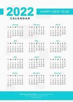 Conception de calendrier de ligne bleue 2022 vecteur