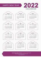 Conception de calendrier islamique 2022 vecteur