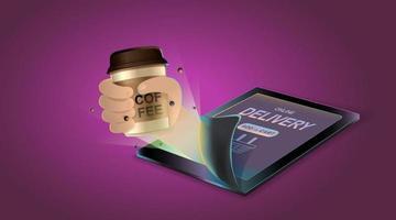 concept en ligne. livraison de café sur mobile. demande de commande de nourriture et de boisson. illustration vectorielle. vecteur