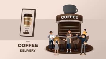 concept en ligne. livraison de café sur mobile. demande de commande de nourriture et de boisson. vecteur