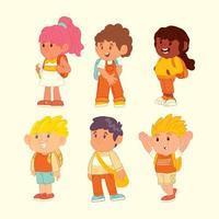 personnages d & # 39; icônes enfants mignons vecteur