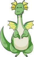 personnage de dessin animé simple de dragon vert isolé