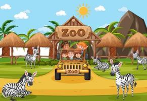 Scène de safari avec des enfants sur une voiture de tourisme en regardant un groupe de zèbres vecteur