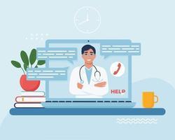 concept de consultation de médecin en ligne vecteur