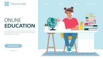 bannière d'éducation en ligne. fille dans les écouteurs ont un apprentissage en ligne vecteur