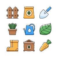 collection d'icônes de jardinage vecteur