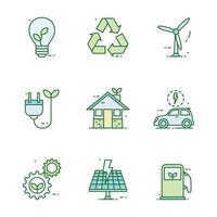 jeu d'icônes de technologie verte vecteur