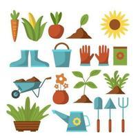 une grande variété d'outils et de plantes de jardinage vecteur