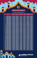 concept de design de calendrier shalat temps vecteur