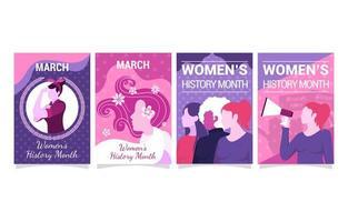 ensemble de conception de cartes représentant le mois de l'histoire des femmes vecteur