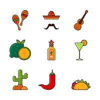 cinco de mayo festivité conception de jeu d'icônes colorées vecteur