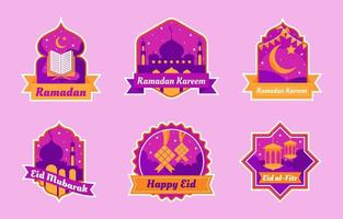 conception de badge ramadan sertie de couleur violette vecteur