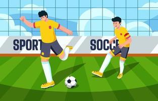 football de football de sport sur le terrain vecteur