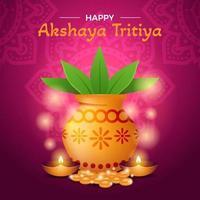 célébration akshaya tritiya avec kalash doré vecteur