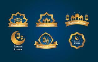 élégante collection d'insignes d'étiquettes ramadan vecteur