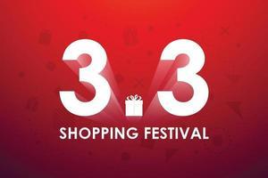 3.3 festival de shopping, conception de bannière de discours marketing sur fond rouge. illustration vectorielle