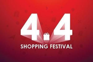4.4 festival de shopping, conception de bannière de discours marketing sur fond rouge. illustration vectorielle vecteur