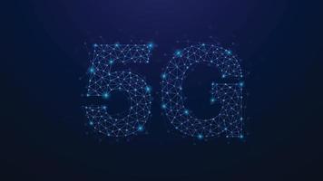 Réseau de points de plexus abstrait 5g. concept de technologie d'entreprise. forme sur fond bleu. illustration vectorielle