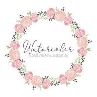 cadre de cercle aquarelle rose fleur arrangement vecteur