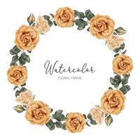 belle couronne de cercle de fleur rose jaune aquarelle