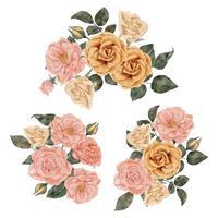 arrangement de fleurs aquarelle rose avec illustration de feuilles vecteur