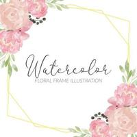 cadre de composition de fleurs aquarelle pivoine rose rustique