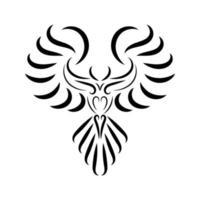 dessin au trait noir et blanc d'oiseau phénix