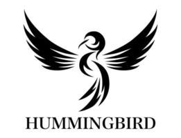 illustration vectorielle de ligne noire art sur fond blanc de colibri volant. convient à la création de logos