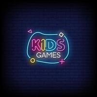 vecteur de texte de style enseignes au néon de jeu pour enfants