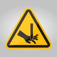 coupe des doigts signe de symbole de lame droite, illustration vectorielle, isoler sur l'étiquette de fond blanc .eps10