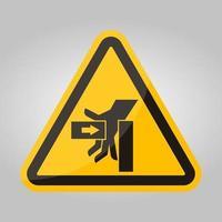 Force d'écrasement de la main du signe de symbole gauche, illustration vectorielle, isoler sur l'étiquette de fond blanc .eps10