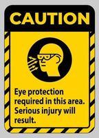 panneau d'avertissement protection oculaire requise dans cette zone, des blessures graves