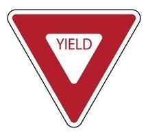 Panneau de signalisation rendement route sur fond blanc vecteur