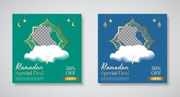 modèles de bannière promotionnelle offre spéciale ramadan vecteur