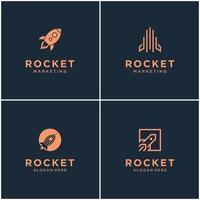 collection de conceptions de logo de monogramme de fusée. fusée spatiale lance abstraite isolée avec illustration vectorielle.
