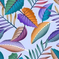 motif tropical sans soudure avec de belles feuilles sur fond clair.