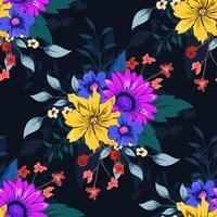 motif floral sans soudure botanique coloré sur fond sombre.