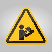 Lire le manuel technique avant d'isoler le symbole d'entretien sur fond blanc, illustration vectorielle eps.10
