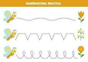 tracez les lignes avec un joli papillon. pratique de l'écriture. vecteur