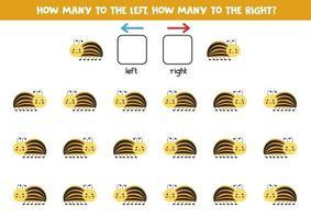 à gauche ou à droite avec un joli coléoptère du Colorado. feuille de calcul logique pour les enfants d'âge préscolaire. vecteur