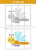 jeu de coupe et de colle pour les enfants. libellule mignonne. vecteur