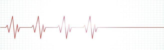 pouls cardiaque - ligne rouge courbe sur fond blanc vecteur